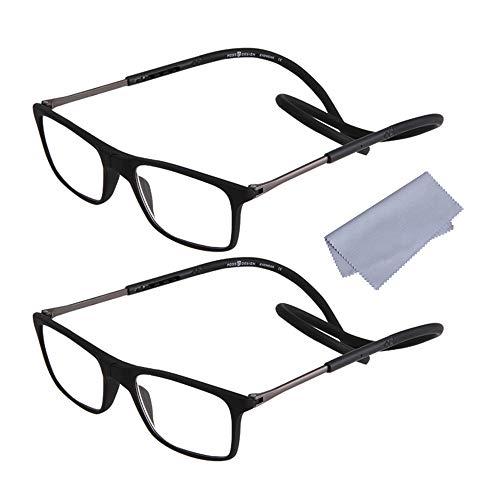 2 Stueck Lesebrille Lesehilfe +1.50(50-54 Jahre) für Herren Damen Presbyopie mit Magnetverschluss und Clip Flexiblem Faltbare Einstellbare für Alterssichtigkeit Brillen, Schwarz