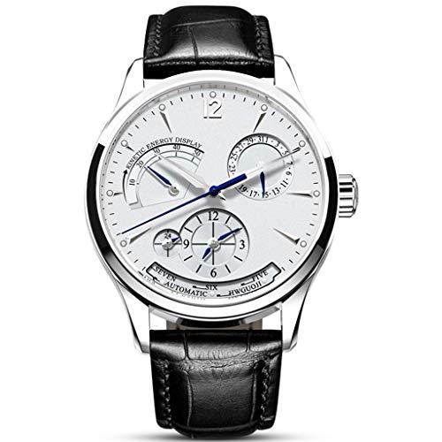 Reloj para Hombres Bobinado Mecánico Automático Núcleo Pantalla De Energía, 24 Horas Relojes con Dial Calendario White