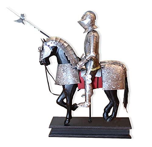 Caballo de hierro pequeña armadura caballero estatua colección de arte - medieval retro metal hierro personaje armadura estatuilla libro decoración de mesa - hogar d & eacute; Cor Acentos - Gris /