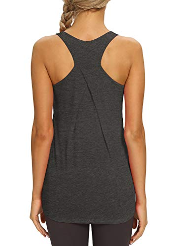Mippo Tunic Tank Tops for Women Long Workout Tops Athletic Active Tank Tops Sleeveless Fitness Shirts Razorback Tank Tops Heather Gray XL
