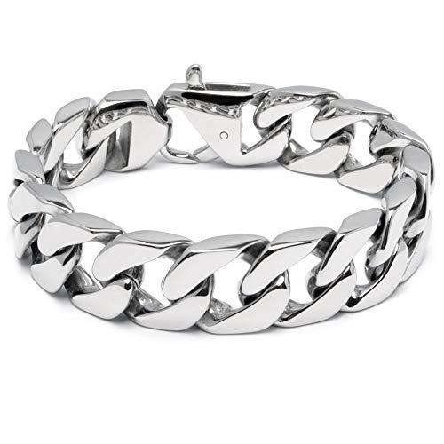 Schmuck-Checker massives 316L Edelstahl Panzerarmband Männerarmband Silber poliert breit schwer Herren Armband Armkette Bikerschmuck Geschenk (19.0)
