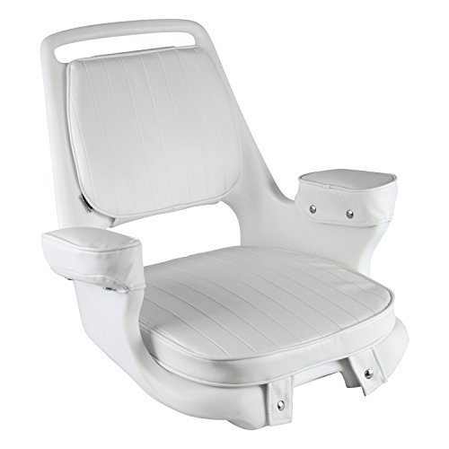 Wise 8WD1007-3-710 Captains Chair with Cushions and Mounting Plate, White