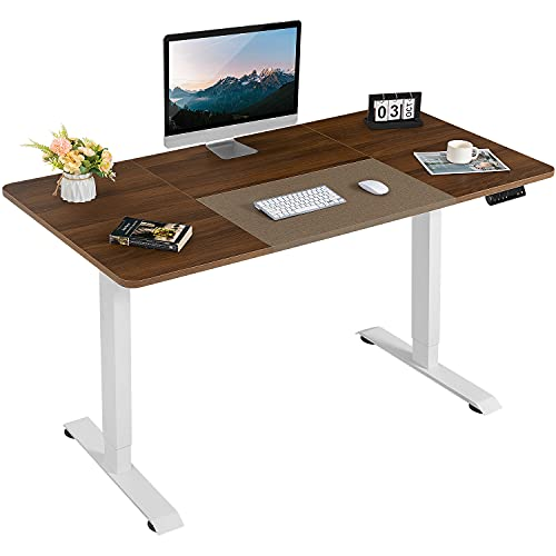 Furmax Height Adjustable Standing Desk Electric Stand Up Desk with 140 cm Wood Desktop T-Shaped Office Desk Ergonomic Computer Table with Automatic Memory and Single Motor (Walnut)