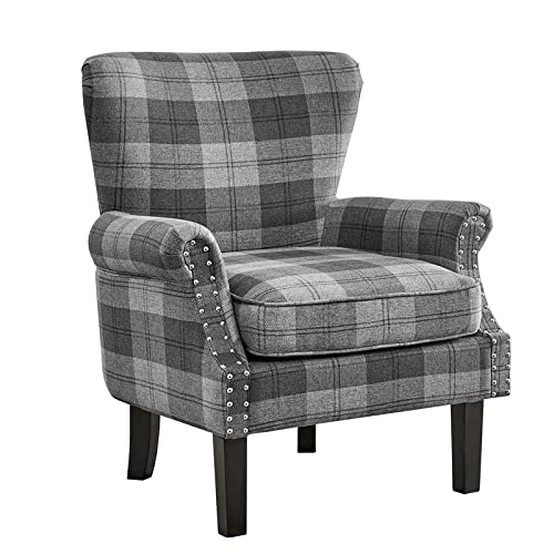 Wing Back Armchair Occasional Accent Chair Velvet or Fabric Lounge Cocktail Chair with Stud Detail Arm Rests Luxurious Padded Armchairs for Sumptuous Living (Grey Tartan)