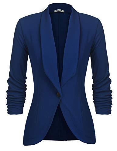 Unibelle Damen Blazer Cardigan Dünn 3/4 Längere Elegant Leicht Bolero Jacke Blazer Slim Fit Anzug Trenchcoat , Aa-blue, 44(Herstellergröße:XXL)