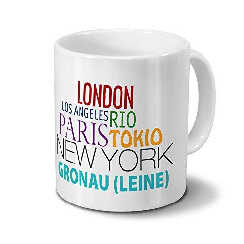 Städtetasse Gronau (Leine) - Design Famous Cities of the World - Stadt-Tasse, Kaffeebecher, City-Mug, Becher, Kaffeetasse - Farbe Weiß