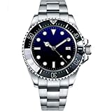 WhatsWatch Parnis 44mm Black Blue Sterile Dial Ceramic Rotating Luminous Marks Bezel Automatic Movement Men's Watch Stainless Steel Band PA-01160