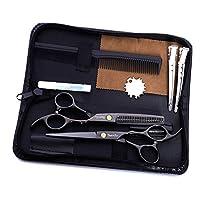 ヘアカットはさみセット6.0インチの ステンレススチール理容はさみ絶妙な(9PCS) を設定し、理髪店アルゴン家庭用の光とシャープ(ブラック)