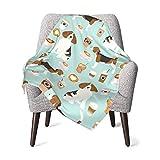 Manta de franela de forro polar suave y cálido Beagle café menta lindos cafés latte menta helado cafés tela niños niño niño cochecito cama manta felpa 100 x 76 cm