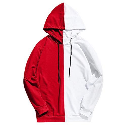 Aiserkly Herren 2-Farbiger Kapuzenpullover Casual Slim Fit Hoodie Outwear Bluse Sweatshirt Basic Sweater Pullover Rollkragen Hoodie Pulli T-Shirt X-Rot L