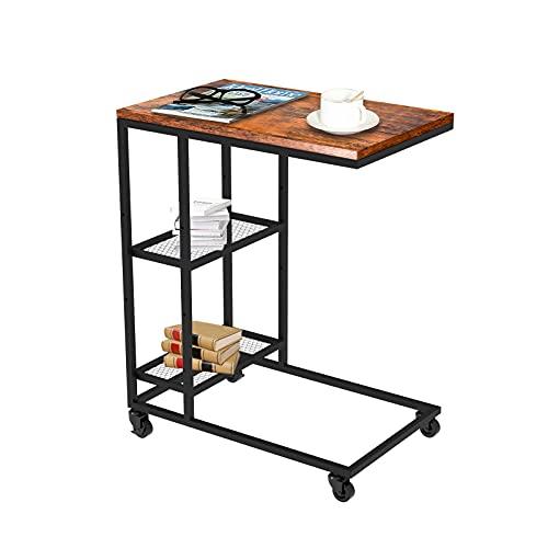 Wrei Mesa auxiliar (67 x 47,5 x 30 cm), mesa de café, mesa de café, mesa de café, mesita de noche, mesita de noche, mesa para ordenador portátil con ruedas y patas ajustables, para café o portátil