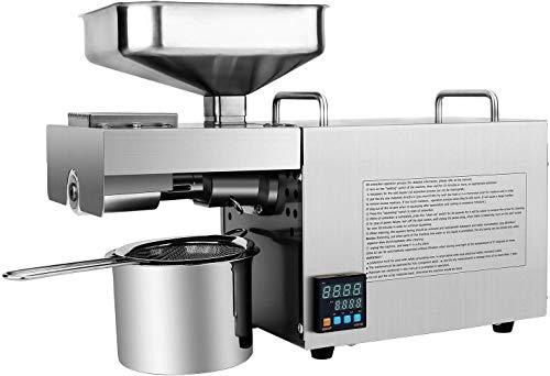 IDABAY Prensa de Aceite Eléctrica, Máquina de Prensa de Aceite de Oliva, con Pantalla Digital para Enseñar la Temperatura, de Acero InoxidableAutomática,Control de Temperatura Inteligente,600W