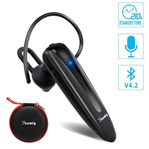 YONMIG 【2019 Más Nuevo】 Manos Libres Bluetooth Auricular, Auriculares Inalámbricos Bluetooth con Micrófono, In-Ear Mono Headset para Negocios/Trukers/Conducción para Android y iPhone