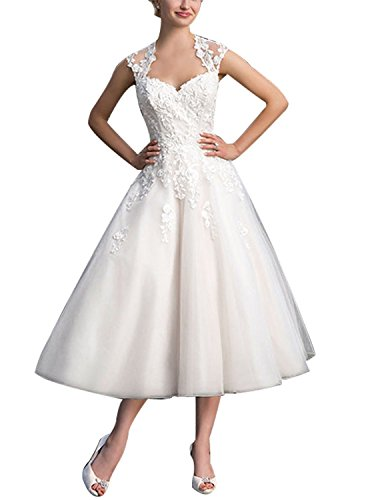 Brautkleid Damen Hochzeitskleider Tüll Spitze A Linie Wadenlang V-Ausschnitt mit Applikation Weiß EUR46