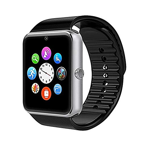 Bluetooth Smart Watch Plus, Compatible con TF SIM-Card Anti Lost, Reloj Deportivo con Pantalla táctil para iOS Android-Silver