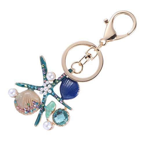 VOSAREA Ocean Keychains Sea Star Pearl Seashell Beach Themed Key Ring Summer Key Holder Or Handbag Purse Car Key Phone Backpack Handbag Keychain Decoration Assorted Color 2