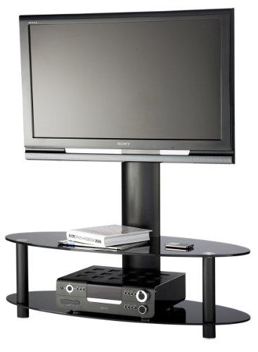 55 inch cantilever curved glass tv stand all black bankonetree. Black Bedroom Furniture Sets. Home Design Ideas