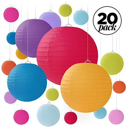 Jangostor 20 PCS weiße Papier Laterne Lampions runde Lampenschirm Papierlaterne, Bunte Papierlaterne für Hochzeiten, Geburtstage - Verschiedene Größen von 15, 20, 25, 30 cm (Muti)