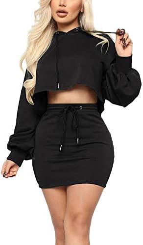Remelon Women Sweatshirt 2 Piece Outfits Mini Dress Hoodie Tunic Long Sleeve Crop Top Skirt product image