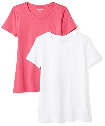 Amazon Essentials Women's 2-Pack Classic-Fit Short-Sleeve Crewneck T-Shirt, Bright Pink/White, Small