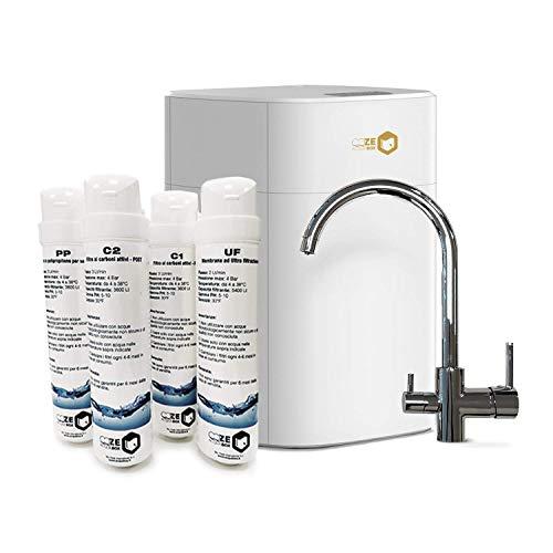 Depuratore Acqua Domestico con 4 Filtro Acqua Potabile. Depuratore acqua. Purificatore Acqua Potabile con Sistema Filtrazione e RUBINETTO Inclusi. Purificatore Acqua a Pressione Naturale Sottolavello