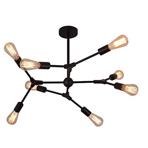 HLL Lámpara de araña, lámpara de araña Sputnik de mediados de siglo, lámpara colgante de montaje vintage E26, lámparas de araña industriales modernas para baño, dormitorio, cocina, bar, pasillo, 8 lu