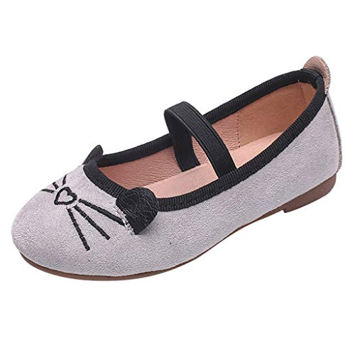 YWLINK Zapatos NiñAs Dibujos Animados Lindo Gato PatróN Princesa Zapatos Fondo Blando CóModo Fiesta Zapatos Casuales Zapatos De Baile Regalo del DíA De Miembro Zapatillas Sandalias(Gris,28EU)