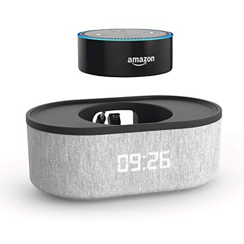 Bedside Speaker for Echo Dot 2nd Generation with USB Charging Port and LED Clock (Heather Gray/12 hr Display)