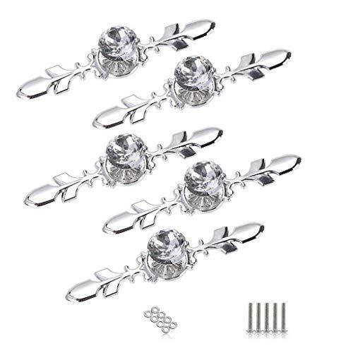 Gesh Pack de 5 pomos de cristal para cajón con placa plateada, con forma de diamante, para cajón, cajón, armario, cajón, armario, cajón, tirador de muebles, con tornillos (120 mm)