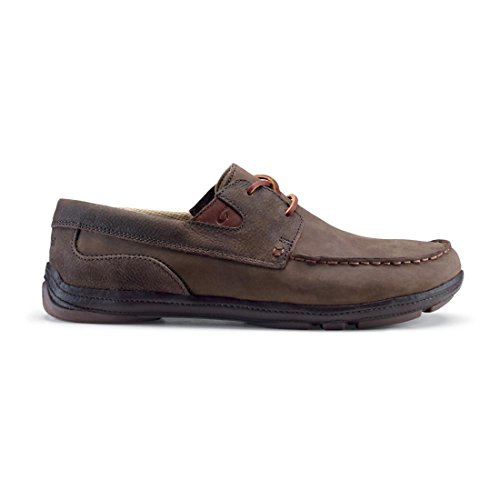 OLUKAI Men's Mano Boat Shoe,Dark Wood/Dark Wood Nubuck Leather,US 9 M