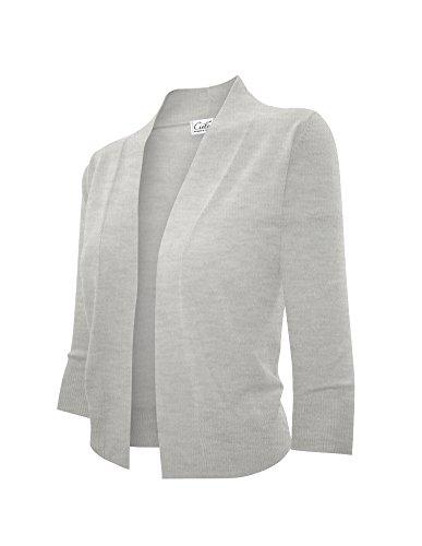 Cielo Women's Knit Cropped Sweater Layered Shirttail Sweater Bolero Cardigan (Medium, SW620 H. Gray)