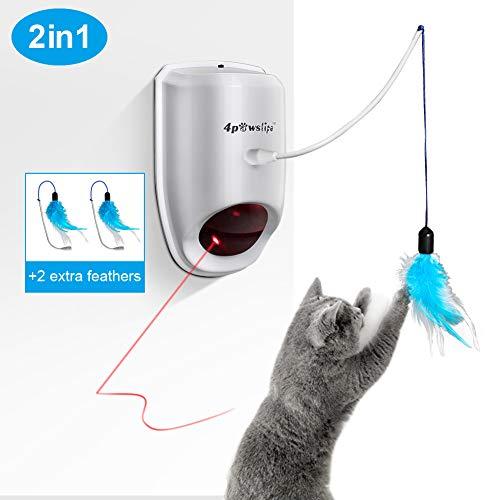 Welltop Interaktives Katzenspielzeug, 2 in 1 Unregelmäßiges schwingendes rotierendes Licht Spielzeug und buntes Federspielzeug, 2 Ersatz Federn, an die Wand gehängt oder an das Stuhlbein gebunden