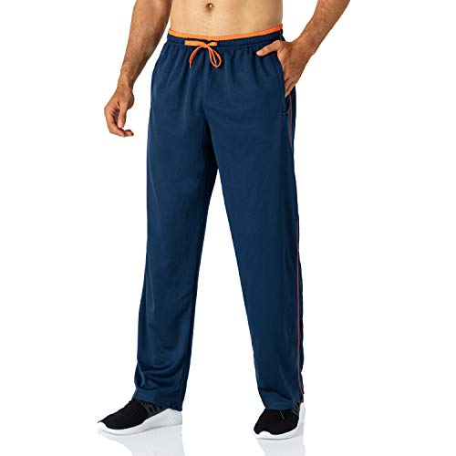 Butrends Jogginghose für Herren leichte schnell trocknende Herrenhose mit Reißverschlusstaschen Trainingshose mit elastischer Taille atmungsaktive Sporthose, Navy Blau-orange, XXL