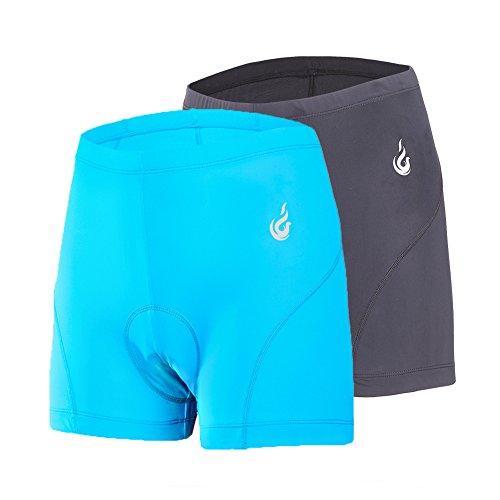 beroy Damen Schnell Trocken einen.Kreislauf.durchmachenunterwäsche mit 3D Padded, Gel Bike Unterwäsche und Bike Shorts Mittel Schwarz Blau