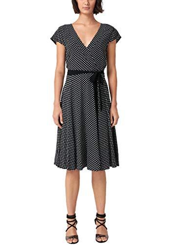s.Oliver BLACK LABEL Damen Kleid mit Cache Coeur-Ausschnitt Grey / Black 40