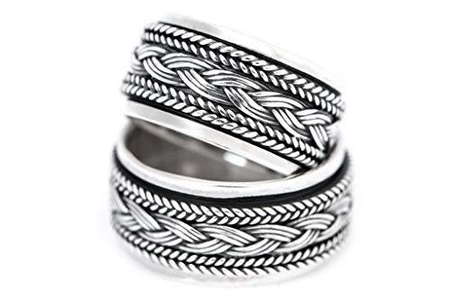 Windalf Wikinger Ring WYKIN h: 1 cm Drehring mit Wikingerknoten Handgeschmiedet Hochwertiges Silber (Silber, 58 (18.5))