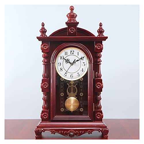 Alarm Clock Desk Clock European-Style Retro Large Solid Wood Desk Clock Living Room Decoration Desktop Silent Clock Home Timekeeping Desk Clock (Size : B)