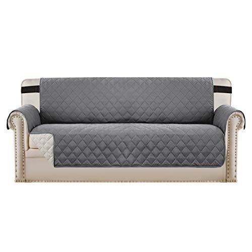 BellaHills Fundas de sofá Fundas de sofá de 3 plazas Fundas de Protector de Muebles Color Reversible (3 plazas, Gris/Beige)