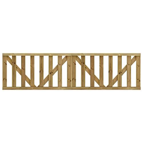 vidaXL 2x Madera de Pino Impregnada Puerta de Valla Listones de Terraza Jardín Cancelas de Valla Portal Patio Cerca Hogar contra Putrefacción