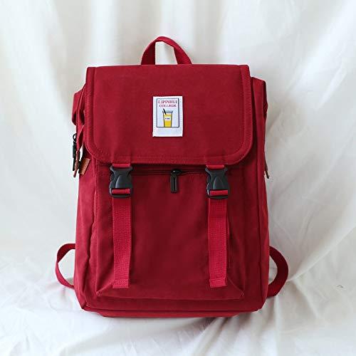 Neaer Mochila de lona coreana para mujer, mochila de viaje, mochila escolar, mochila amarilla y negra (color: rojo, tamaño: 35,56 cm)