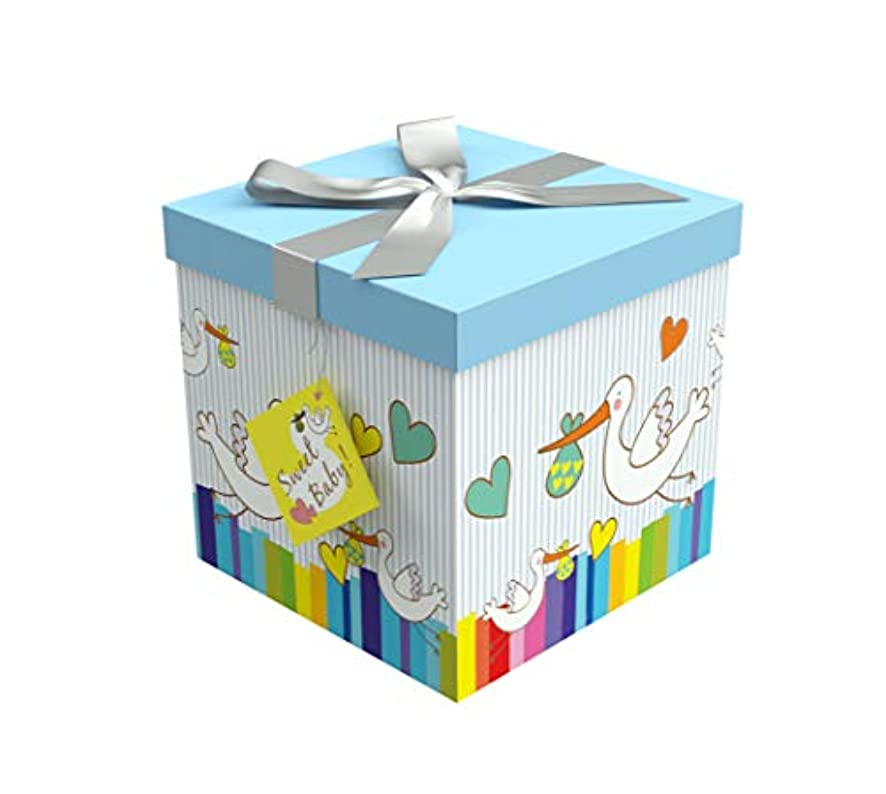 EndlessArtUS Gift Box 6x6x6 Petit Bebe Pop up in Seconds Comes with Decorative Ribbon Mounted on The lid A Gift Tag and Tissue Paper - No Glue or Tape Required