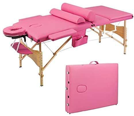 KEDUODUO Table de Massage avec Sac de Transport, Portable Type Se Pliant, 3 Sections Pliables,...