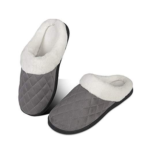 Pantuflas de Invierno para Hombre y Mujer, con Espuma viscoelástica, cómodas, Antideslizantes, para Interior y Exterior(FG.Gris Oscuro,38 39 EU)