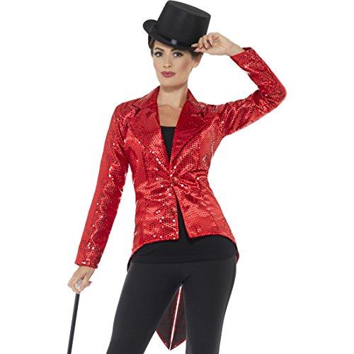 Amakando Paillettenfrack - L (42/44) - Showgirl Frack Damen Glitzer Jacke Karneval Gehrock Kabarett Dompteuse Zirkus Jackett Frauen Roter Damenfrack