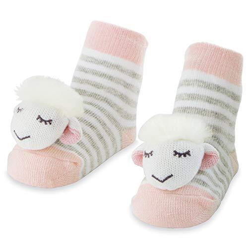 Mud Pie Pink Sheep Rattle Toe Socks