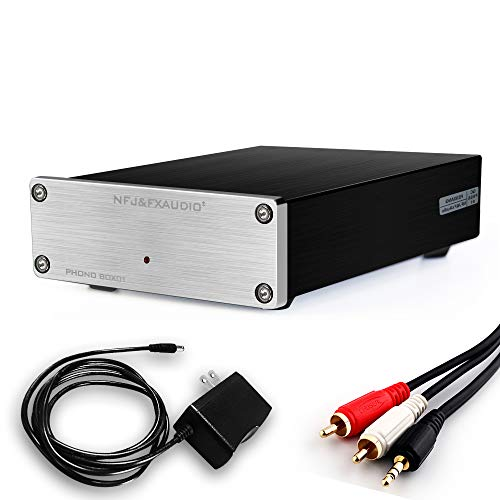 FX-AUDIO Phono Turntable Preamp—Mini Electronic Home Audio Stereo MM Phonograph Preamplifier with RCA Cable/DC 12V Power Supply for Vinyl Recorder Player(MM/Silvery)