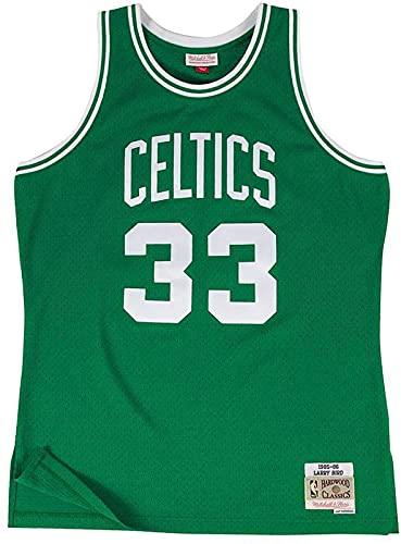 xzl Mitchell & Ness Larry Bird #33 Boston Celtics Swingman NBA Jersey verde, camiseta de baloncesto bordada, Mehrfarbig - XL