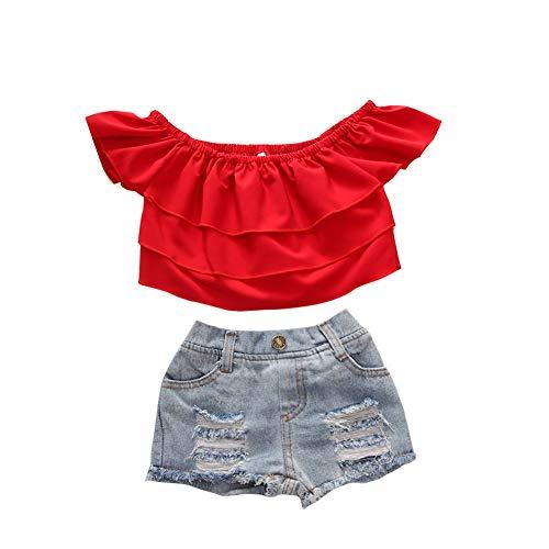 BOBORA Ensemble Bébé Fille Été, 2PCs Vêtements Bébé T-Shirt à épaules Dénudées avec Short en Jean 1-6Ans
