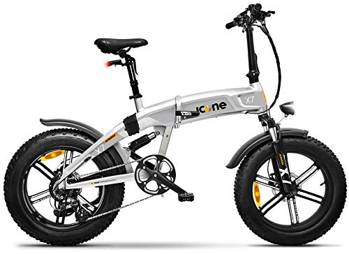 giordanoshop Icon.e Bici Elettrica Pieghevole iCross-X7 250W Stardust Silver