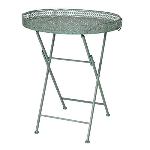 Mendler Table Pliante HWC-C39, Table de Jardin, métal, Vert Antique